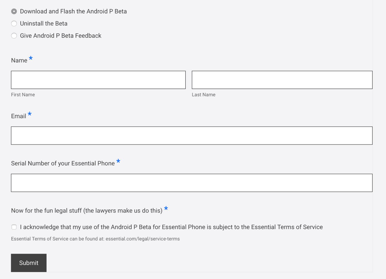 Essential PhoneウェブサイトのDeveloper PreviewページにあるAndroid P Betaをダウンロードするための入力フォーム