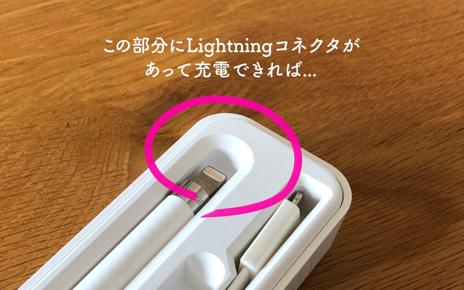 WILLGOOキャリングケースのApple Pencilを入れる部分。ここにLightningコネクタが付いていて充電できれば便利なのに