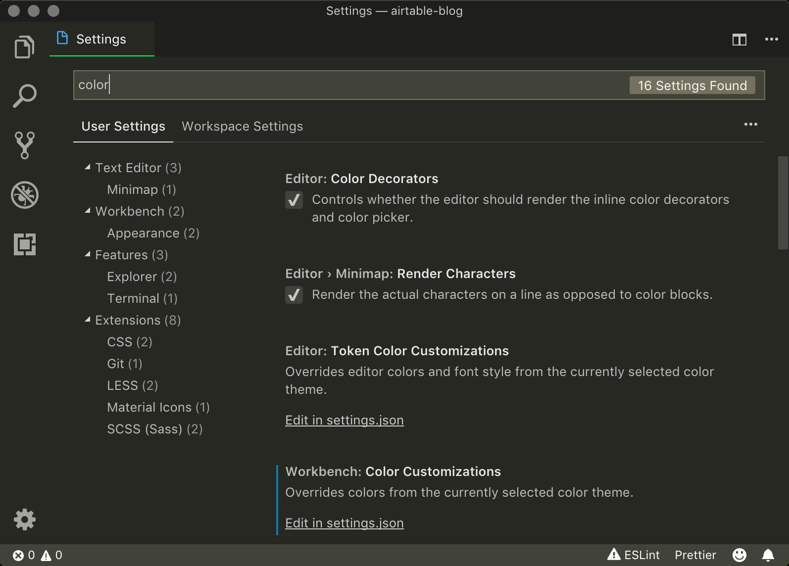 VSCodeの設定画面で「color」で検索するところ