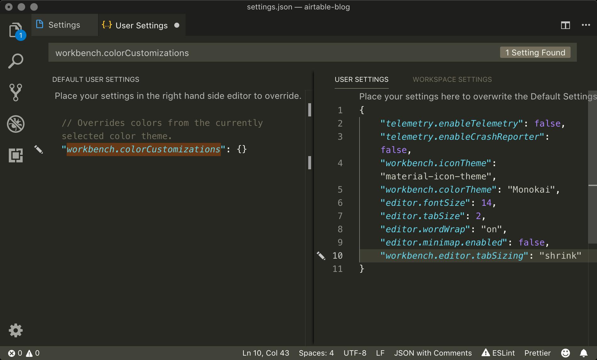 VSCodeのユーザ設定(settings.json)の編集画面