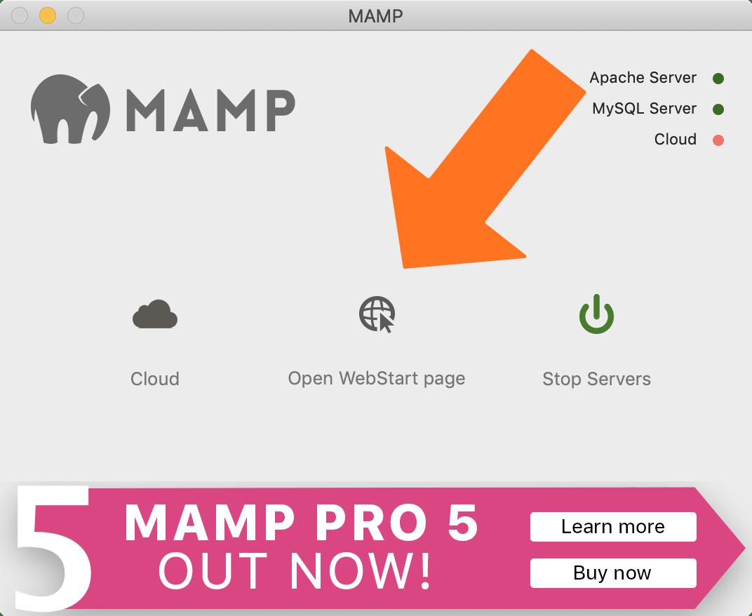 MAMPの「Open WebStart Page」ボタン