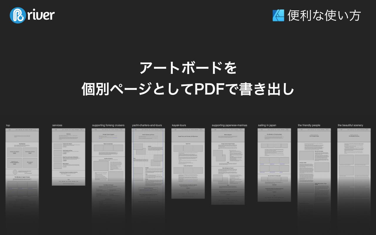 アートボードを個別ページとしてPDFで書き出し。複数のアートボードでワイヤーフレームが表示されている