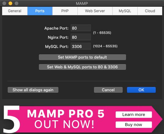 MAMPのPreferencesのPorts設定画面