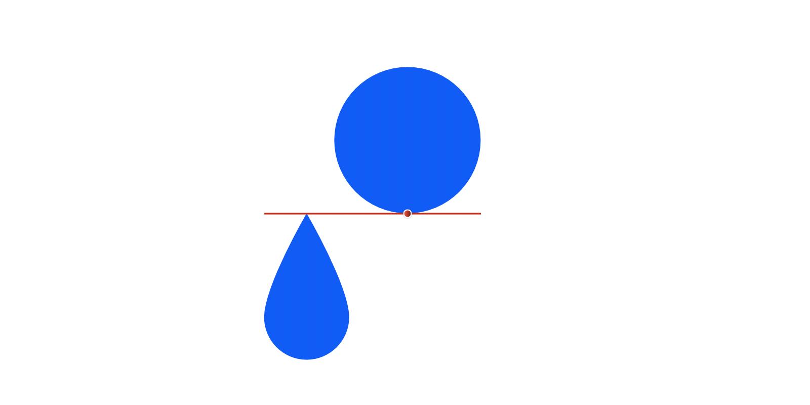 2つのオブジェクトが最下部と最上部でスナップして、間に赤い横線とノードでスナップした状態が表されている