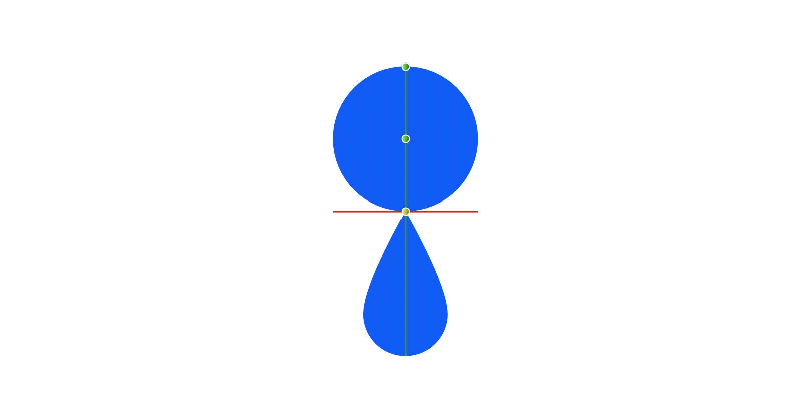 2つのオブジェクトが最下部中央と最上部中央でスナップして、垢と緑の線と黄色いノードでスナップした状態が表されている
