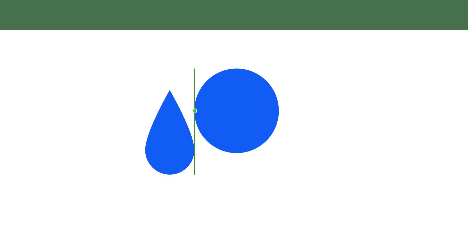 2つのオブジェクトがそれぞれ右端と左端でスナップして、間に緑の縦線とノードでスナップした状態が表されている