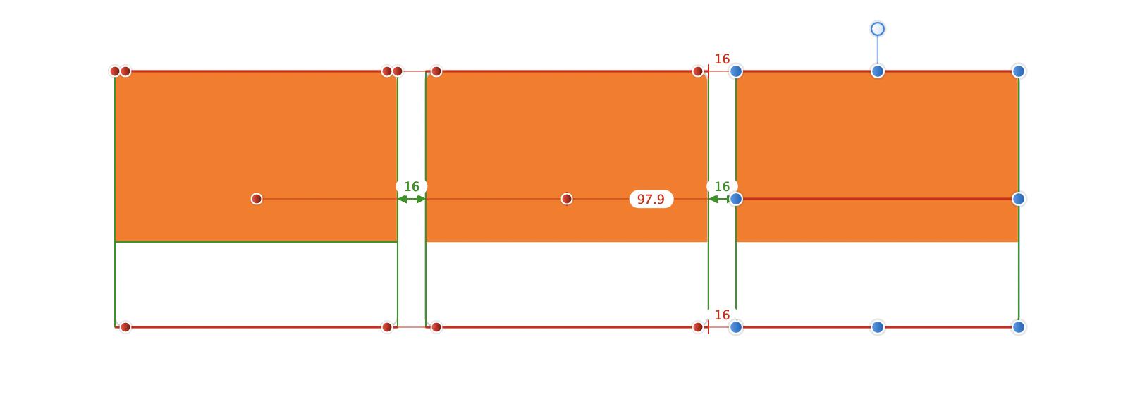 Affinity Designerで3つの長方形のオブジェクトに関する動的ガイドが表示さている状態