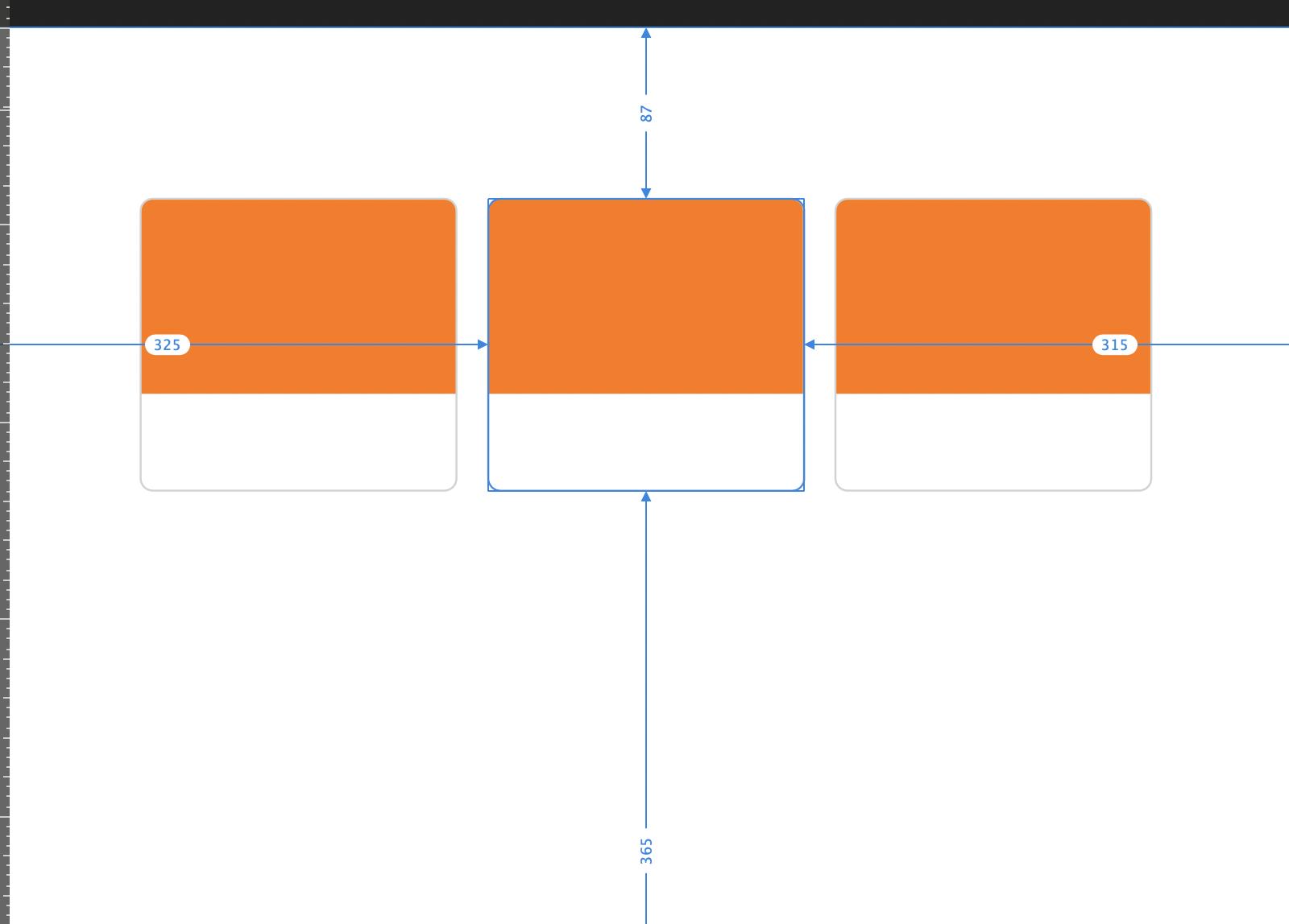 Affinity Designerで選択されたオブジェクトの測定ガイドが表示さている状態