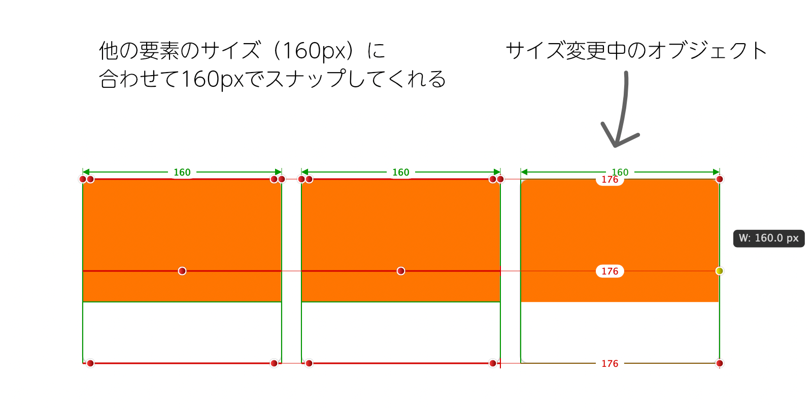 Affinity Designerの動的ガイドでオブジェクトのサイズが表示されている画面。オブジェクトのサイズを変更すると他のオブジェクトのサイズに合わせてスナップしてくれることを表しています